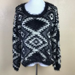 Dex Black White Feather Yarn Sweater Small